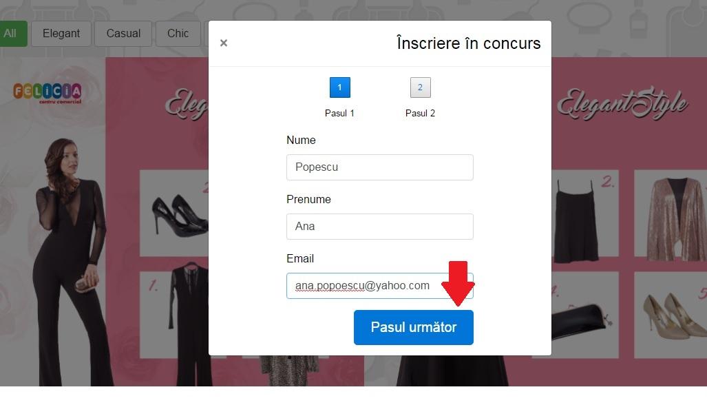 Concurs online aplicatia Winter Sale Felicia - Pas 3