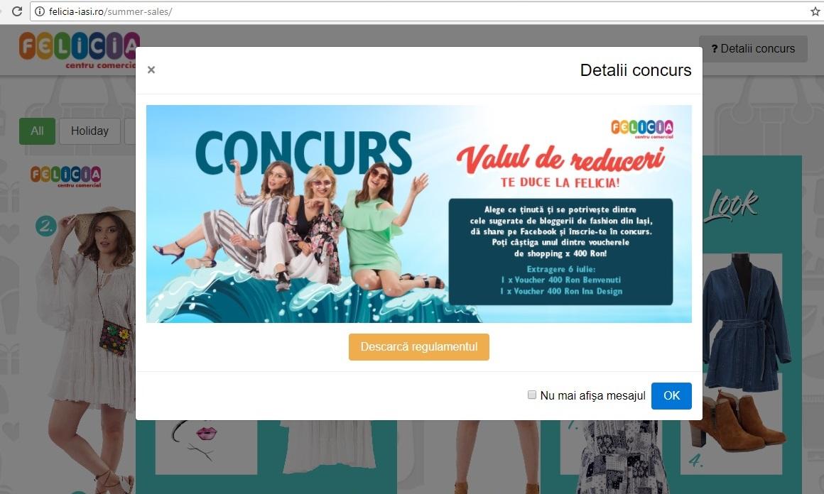 """Pasul 1 Concurs online """"Valul de reduceri te duce la Felicia"""""""