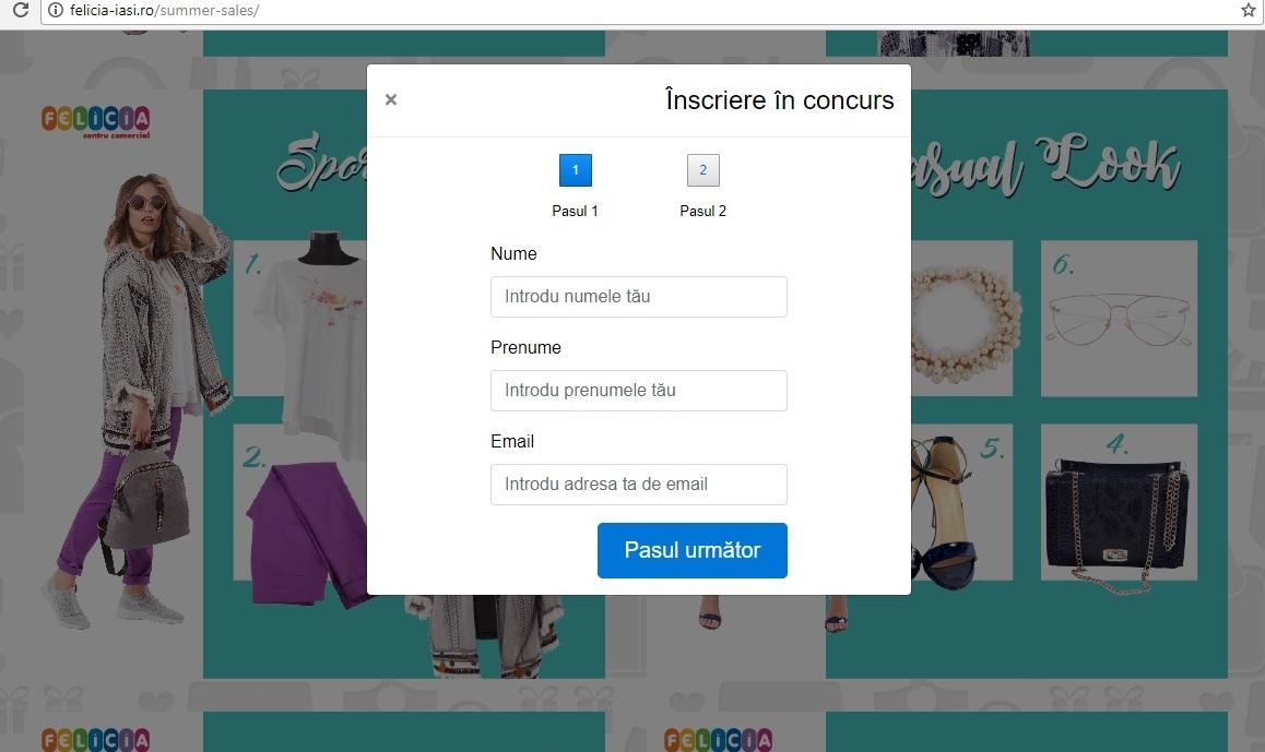 """Pasul 3 Concurs online """"Valul de reduceri te duce la Felicia"""""""