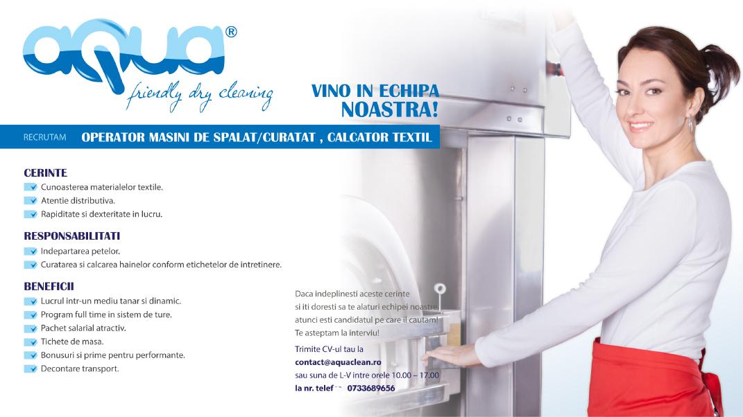 Operator mașini de spălat / curățat, călcătortextil - AQUA
